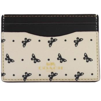 COACH 59787 限量蝴蝶結防刮皮革信用卡名片夾.白/黑邊