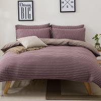 Betrise 裸睡主意  加大-100%純棉針織四件式被套床包組 -紅酒香氛