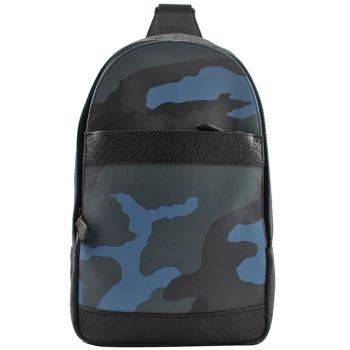COACH 29714 限量迷彩拼接皮革單肩後背包.黑邊