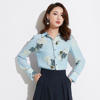 SZ-淺藍底典雅花束長袖雪紡襯衫S~XL