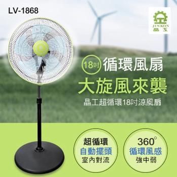 換季下殺↘晶工牌 18吋 360度八方吹超循環涼風電風扇LV-1868