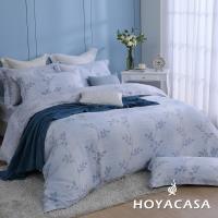 HOYACASA柳葉紛飛 雙人四件式抗菌60支天絲兩用被床包組
