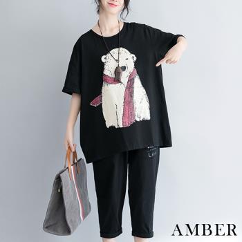 Amber-夏日百搭休閒動物圖騰寬鬆上衣