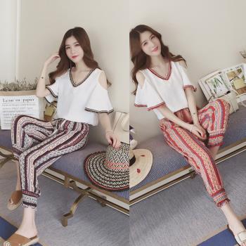 韓國KW  輕美學深情醉人雪紡上衣燈籠褲套裝