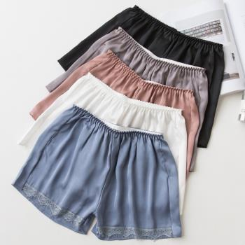 [ 美衣館 ] 絲綢蕾絲花邊短褲 外穿褲 安全褲 女用內褲 防走光褲 蕾絲拼接 內搭褲