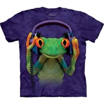 摩達客 (預購)(大尺碼3XL) 美國進口 The Mountain自然純棉系列 DJ和平蛙 藍紫設計T恤