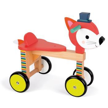 【法國Janod】經典設計木玩-寶寶小狐滑車