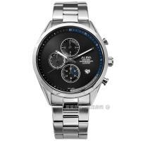 ALBA / VD57-X135D.AM3595X1 / 藍寶石水晶玻璃 三眼計時 日期 不鏽鋼手錶 黑藍色 43mm