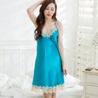 Wonderland 完美情人冰絲睡衣(藍)