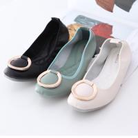 ZUCCA【z6334】日系金屬圓平底包鞋-黑色/白色/綠色