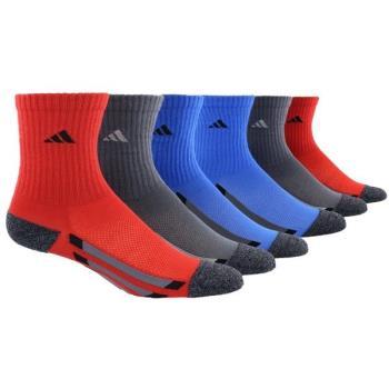Adidas 2018學童時尚1/4高紅灰藍色運動短襪混搭6入組