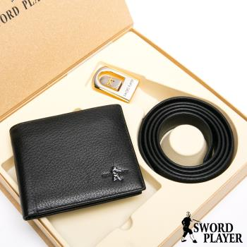 SWORD PLAYER - 莎普爾簍空金邊款真皮皮帶+10卡1照皮夾禮盒組