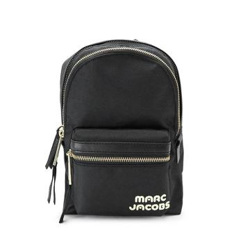 【Marc Jacobs】 Biker 品牌LOGO尼龍雙層後背包-小 (黑)