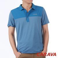 CARAVA 男條紋排汗POLO衫(灰藍/深灰藍/橄綠)
