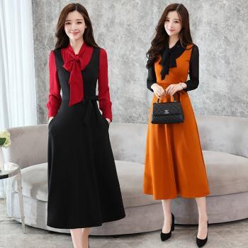 REKO-韓版假兩件式蝴蝶領結長袖洋裝M-2XL(共二色)