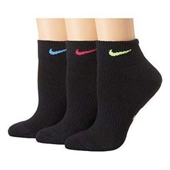 Nike 2018女時尚彩色標誌黑色運動短襪3入組