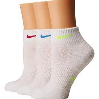 Nike 2018女時尚彩色標誌白色運動短襪3入組