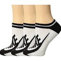 Nike 2018女優雅黑色字母條白色運動短襪3入組