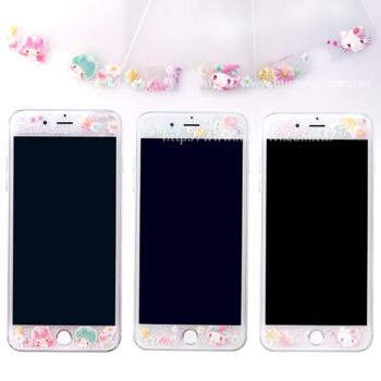 【Sanrio三麗鷗】iPhone 7 (4.7吋) 繁花系列 9H強化玻璃彩繪保護貼