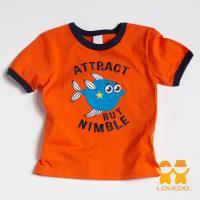 【LOVEDO-艾唯多童裝】敏捷的尖嘴籃子魚 拼布式短袖T恤 (橘) BSH13325