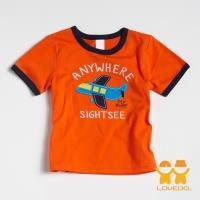 【LOVEDO-艾唯多童裝】翱翔天際的小飛機 拼布式短袖T恤 (橘) BSH13323