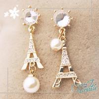 【伊飾童話】巴黎風情*鐵塔水鑽珍珠垂墜耳環/2色可選