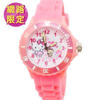 【SANRIO 三麗鷗】Hello Kitty 運動彩帶錶|中| 玫瑰小熊 Kitty(凱蒂貓)