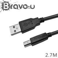 Bravo-u 2入組 USB 2.0 傳真機印表機連接線-A公對B公(黑色2.7M)