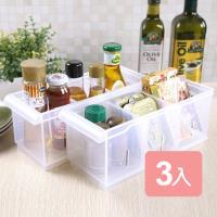 真心良品 諾可隔板多用途整理盒小款(附輪)3入組