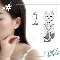 【伊飾童話】貓咪抓魚*不對稱銅電鍍耳環