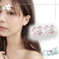 【伊飾童話】春之櫻花*亮麗銅鍍銀耳環