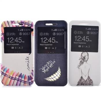 Sony C5 時尚彩繪手機皮套 側掀支架式皮套 仙境遊蹤/少女背影/蠟筆拼盤