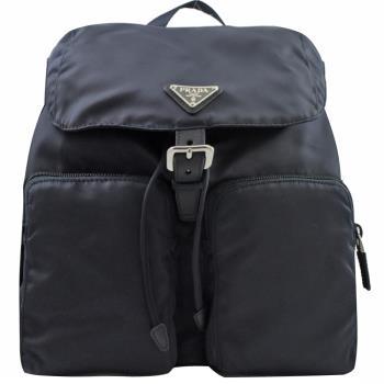 PRADA 1BZ005 三角LOGO尼龍帆布束口後背包.深藍(大)