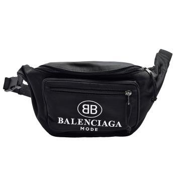 BALENCIAGA Explorer系列品牌字母正反B LOGO尼龍布腰包/斜背包(黑)