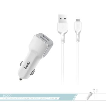 hoco.浩酷 格朗2.4A快充車用iPhone數據線充電套裝(Z23) 雙USB車充頭 + 蘋果傳輸線