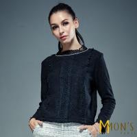MONS名媛女人精品蕾絲刺繡上衣