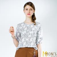 MONS國際專櫃輕雪紡印花飄逸上衣