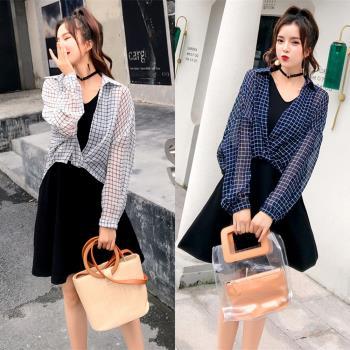 KVOLL-寬鬆格子襯衫背心裙套裝-M~4XL(共二色)