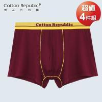 棉花共和國 平口褲  亮彩合身 超值4件組-棗紅色