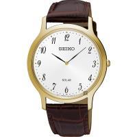 SEIKO精工 SOLAR 太陽能簡約手錶-銀白x金框/38mm V115-0BE0G(SUP860P1)