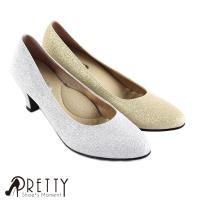 Pretty 閃耀金蔥中跟尖頭鞋BA-29952