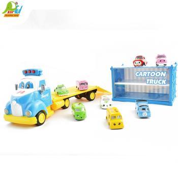 【Playful Toys 頑玩具】呆萌貨櫃車YF8311 呆萌貨櫃車 貨櫃車玩具|模型 內附音樂及音效 小金龜車|巴士 兒童趣味玩具 交通模型玩具