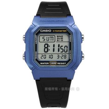CASIO / W-800HM-2A / 卡西歐 兩地時間 計時碼錶 LED照明 鬧鈴 電子橡膠手錶 藍黑色 37mm