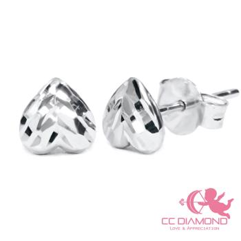 【CC DIAMOND】義大利進口 18K金耳環 閃亮愛心