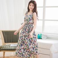 花卉圖騰腰鬆緊長版無袖洋裝(共三色)lingling中大尺碼