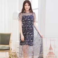 網紗繡花造型袖口洋裝+細肩帶兩件式洋裝(共三色)lingling