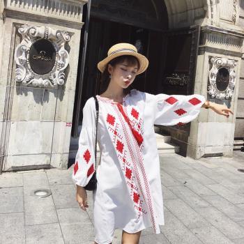 維拉森林-波希米亞風燈籠袖洋裝-S~XL(共二色)