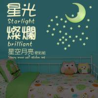6組精裝版3D星彩夜光壁貼/50顆星星+1月亮/組 金德恩 台灣製造