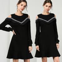 麗質達人 - 79158黑色假二件式洋裝