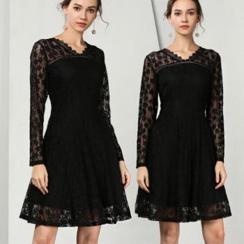 麗質達人 - 79190蕾絲V領洋裝